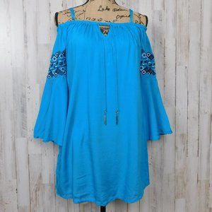 Green Dragon Embroidered Cold Shoulder Tunic Dress